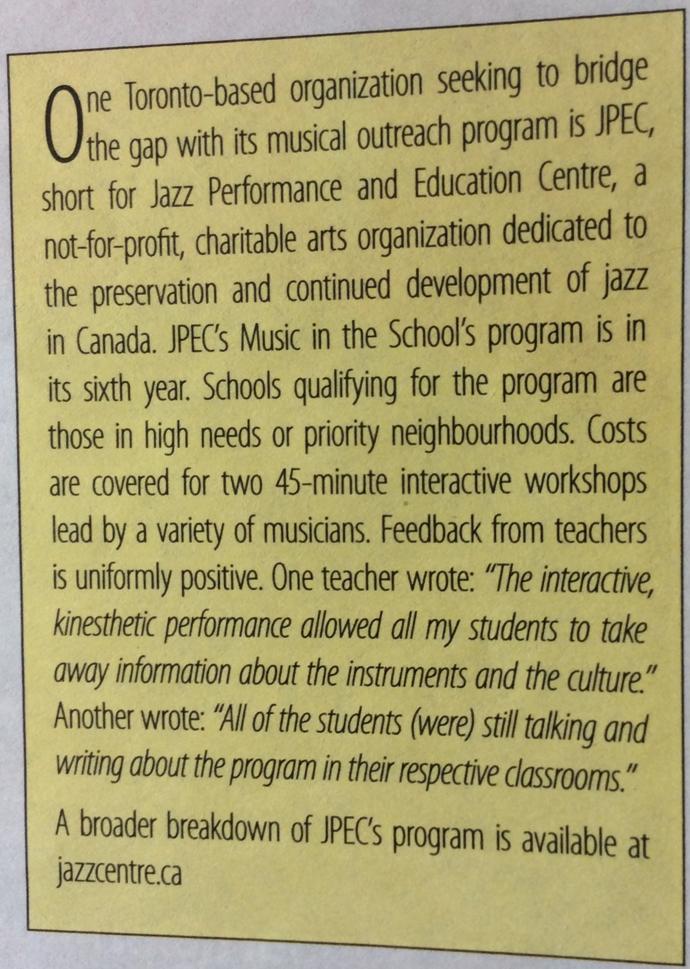 Canadian Teachers Magazine at Jazz Performance and Education Centre in Toronto